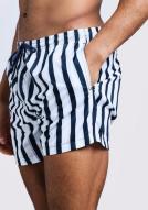 boohooMAN Stripe Swim Short in Mid Length