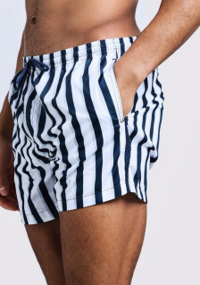 boohooMAN Stripe Swim Short in Mid Length