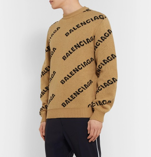 Balenciaga Logo Intarsia Virgin-Wool Blend Sweate