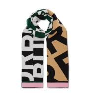 Burberry Contrast Logo Graphic Wool & Silk Jacquard Scarf